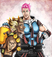 OW: Zarya and Junkrat by nellroshe