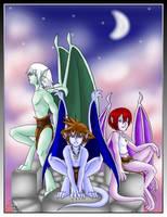 KH-Gargoyles Trio - FINISHED by purplelemon