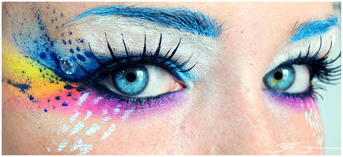 Crazy Rainbow Make up + Tutorial by PixieCold