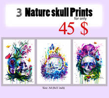 3 Nature Skull Prints by PixieCold