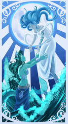 The Moon and The Sea by Animeshen