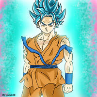 Super saiyan blue Goku from 'Dragon Ball Super' by Izarikotsuki