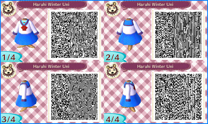 Image of: Crossing New Leaf Qr animal Crossing Qr Codes Haruhi Winter Uniform By Sakurablossom143 Deviantart Animal Crossing Qr Codes Haruhi Winter Uniform By