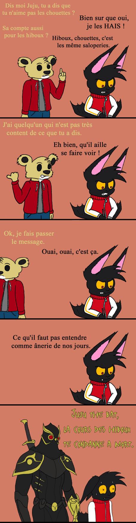 Juju don't like owl by Bleu-Fenrir