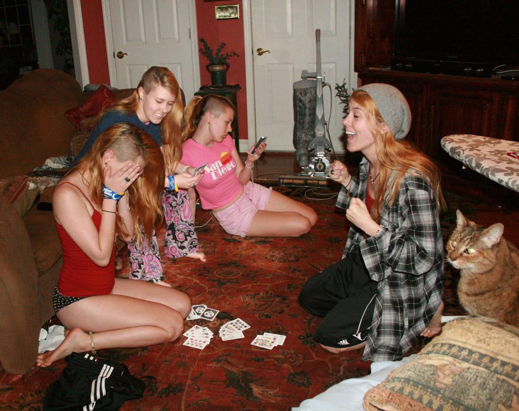 All girl strip poker