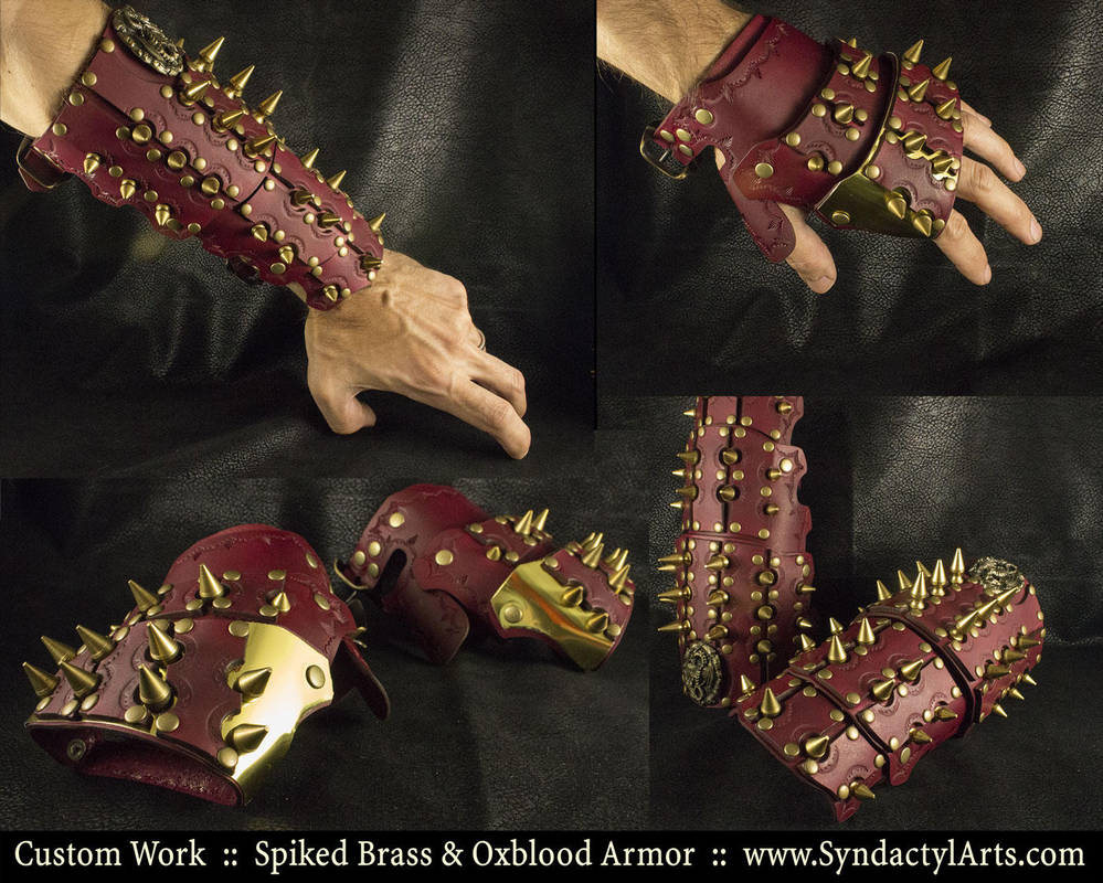 Spiked Brass and Oxblood Armor by ChaoseVIIn