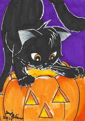 Halloween ATC Set: Cat by Rika24