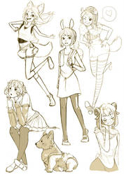 Animal Girl Sketches by ArtPhish