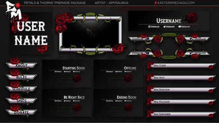 [Premade] Twitch Overlay: Petals and Thorns by Amysaurus121