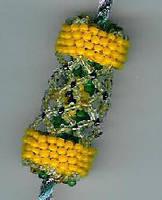 Yellow Beaded Bead by Refiner
