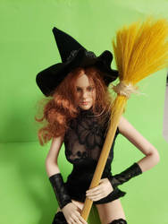 Larina green screen test with broom by WebWarlock