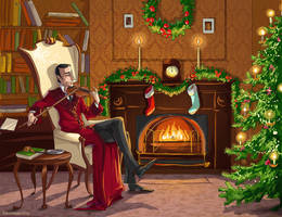 Christmas Sherlock Holmes by kissyushka