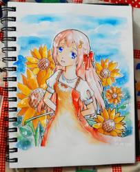 OC - Miyu and Sunflowers by katoru92