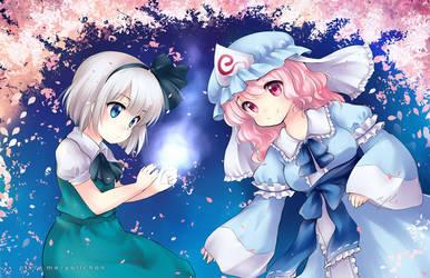 Youmu and Yuyuko by yolichan
