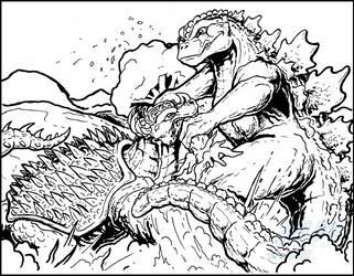 Commish - Godzilla vs Anguirus by AlmightyRayzilla
