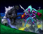 Commission - GODZILLA VS ALEXANDRITE by AlmightyRayzilla