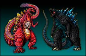 Supercharged Shin-Gojira and Legendary Godzilla by AlmightyRayzilla