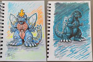 Chibi SpaceGodzilla and Godzilla marker sketches by AlmightyRayzilla