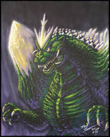 Another SpaceGodzilla painting by AlmightyRayzilla