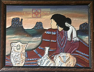 Southwest Pottery Lady Painting by rosiecrafts