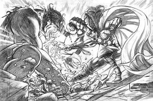 Thor vs Hulk completed pencils by dfbovey