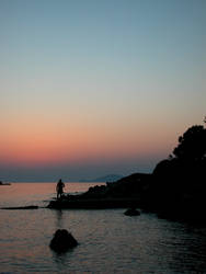 Fisherman at Dusk by Lanerosso