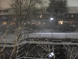 Snowy yard by Treggats