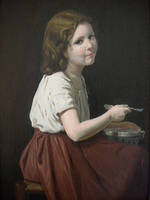 Girl eating soup oil painting. by George-Mucollari