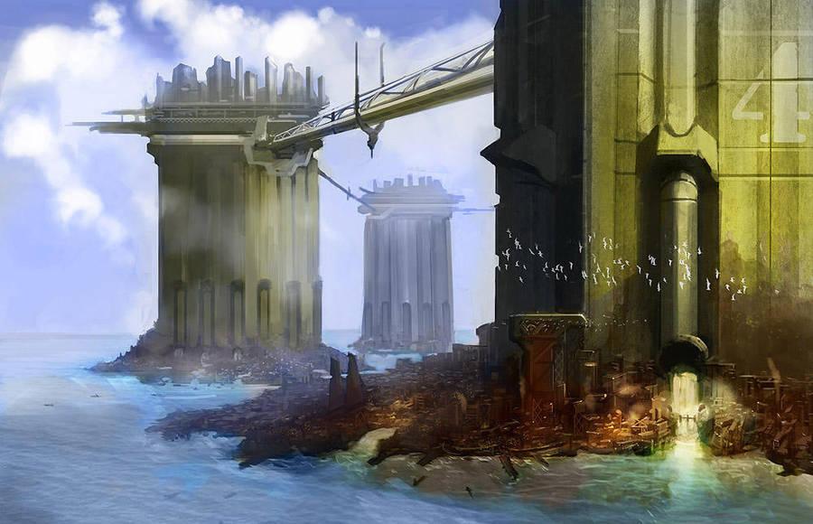 Underneath a future city by DrawingNightmare