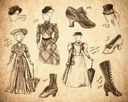 Steampunk Fashion Sketches by SKOpseudonym