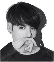 Black and white Jungkook by tinavrl