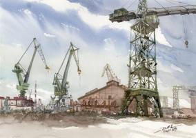 Gdansk Shipyard, 36x51cm by NiceMinD