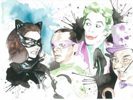 Batman Villains Watercolor by JAWart728