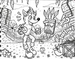 Crash Bandicoot and Aku Aku by Sonne-ii3