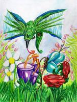 Hummingbird Pencil by krazykelli