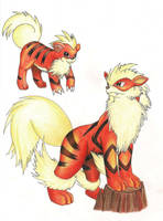 Growlithe and Arcanine by SonARTic