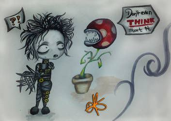 Edward Scissorhands meets Piranha Plant by Never2Wonderland