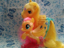 Pony Relatives: Dancing Butterflies and Fluttershy by LittleKunai