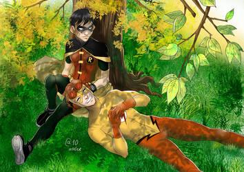 Robin and Kid Flash by Autumn-Sacura