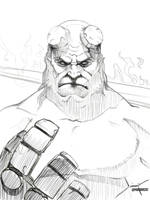 Hellboy Sketch by PapurrCat