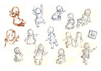 gesture drawing baby girl sketches by TBchoi