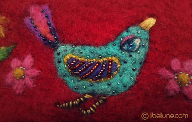 Blue Bird Felted Pouch by Neyrelle