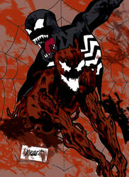 Carnage and Venom in color by thebeastart