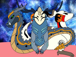 Hooded dragon, sumi dragon, and spirit dragon by bramblecat99