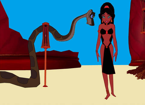 Slave Jasmine and Kaa: In Kaa's Temple by hypnotica2002
