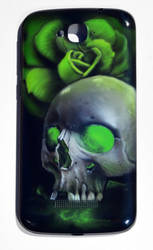 skull airbrushing on a telephone by Nelsonito