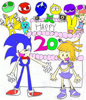 Happy 20th, Sonic and Arle by mannysmyname