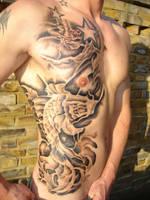Koi and Japanese Demon Tattoo by CorneliusTattoo