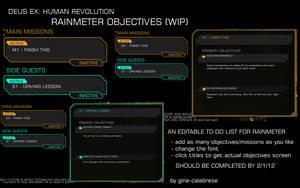 Deus Ex: HR Rainmeter objectives skin WIP by gina-calabrese