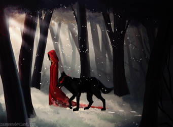 Red Ridding Hood - Stroll with the wolf by zaameen